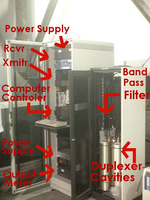 Picture of two equipment racks for repeater with labels to various components